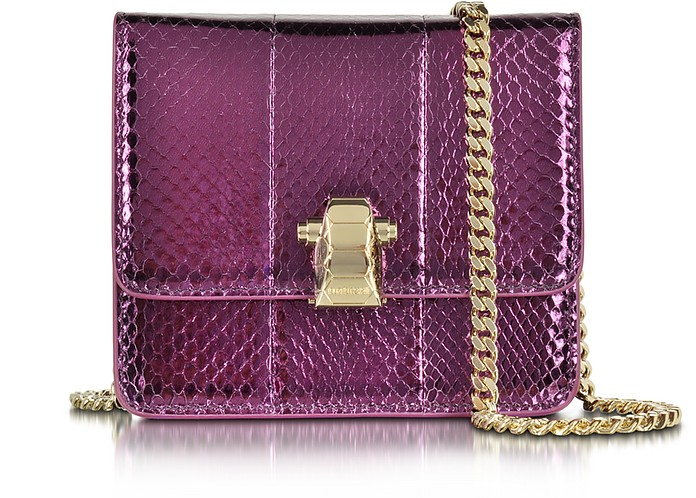 Flap Mini Orchid Metallic Ayers Leather Shoulder Bag - Roberto Cavalli