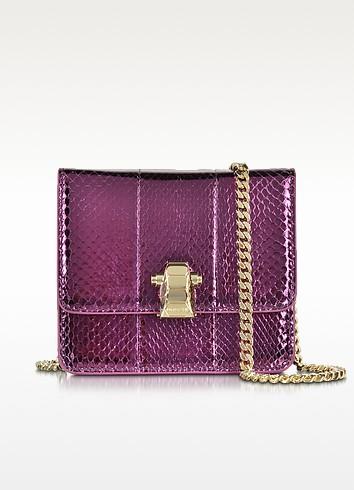 Flap Mini Orchid Metallic Ayers Leather Shoulder Bag - Roberto Cavalli