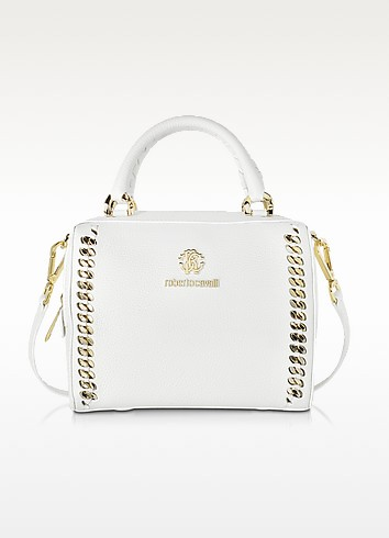 Boston Mini Off White Leather Handbag - Roberto Cavalli