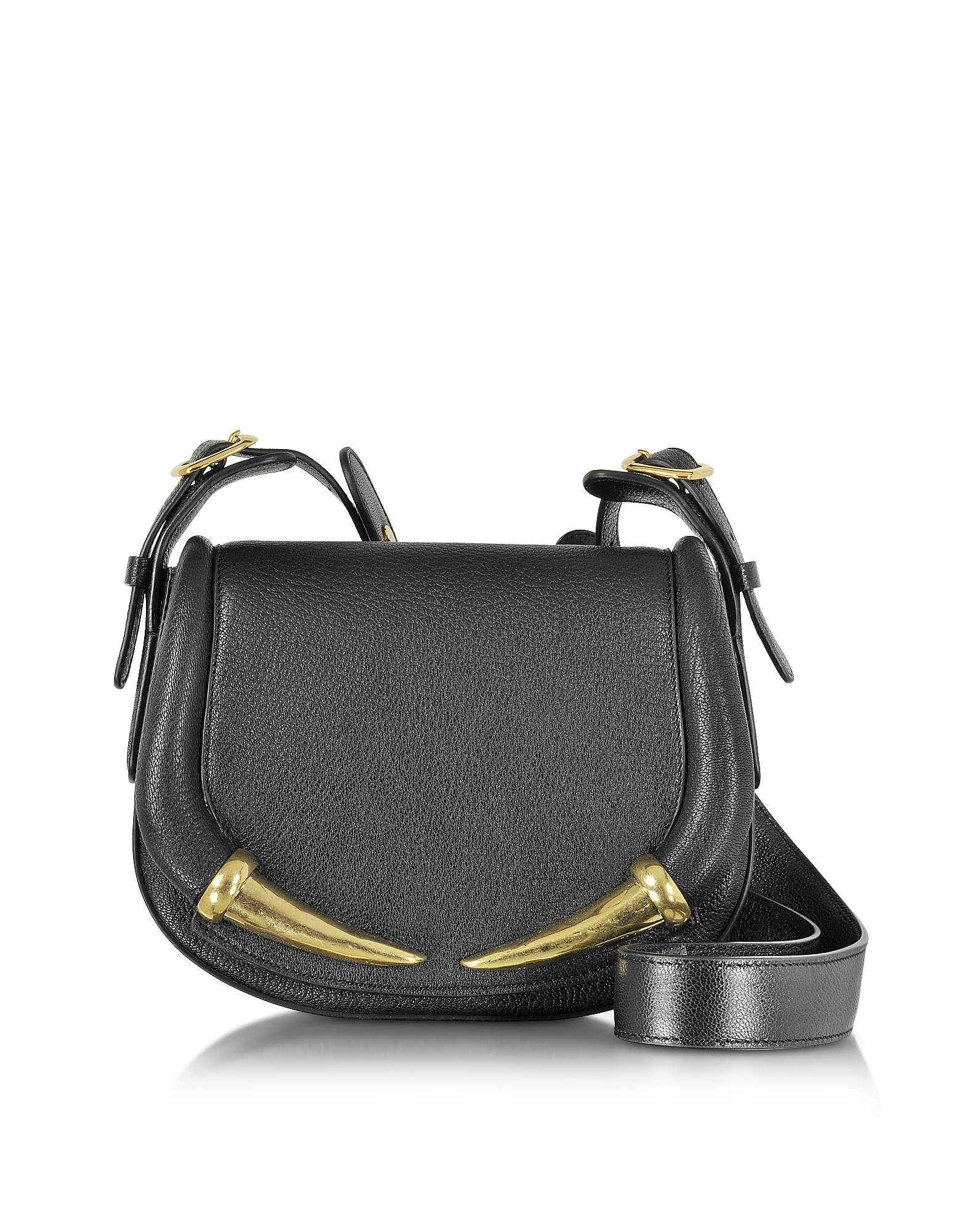 Roberto Cavalli Handbags, Kripton Black Leather Small Shoulder Bag