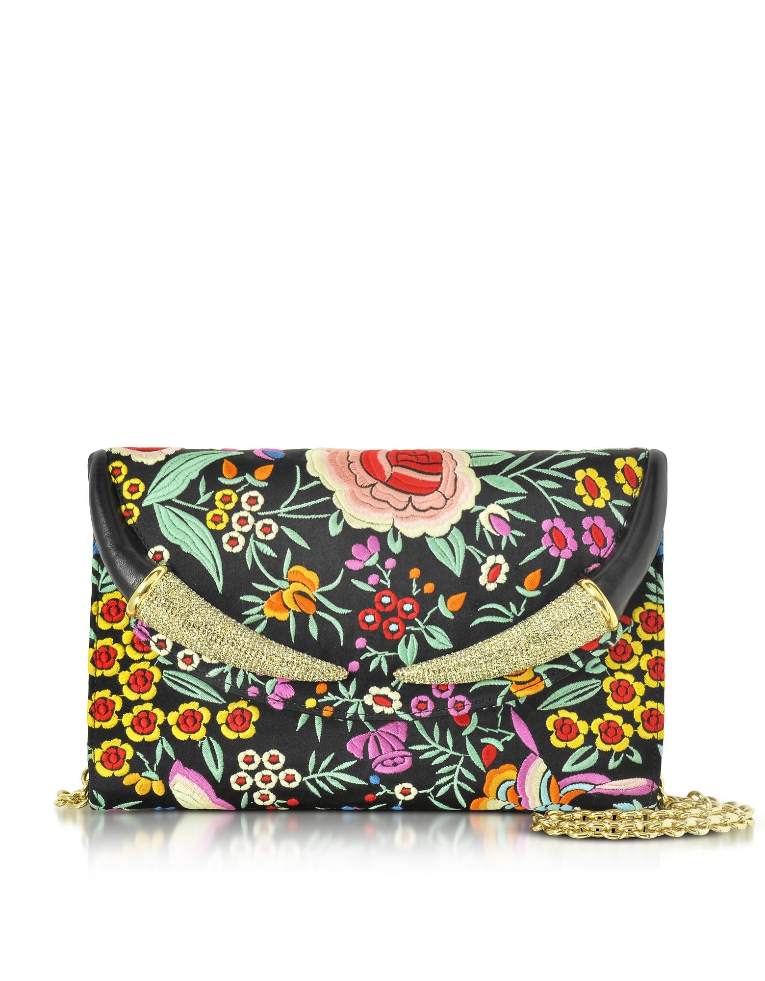 Фото Черный Атласный Клатч с Цветочной Вышивкой и Кристаллами. Купить с доставкой