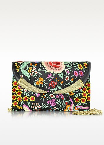 Floral Embroidered Black Satin Clutch w/Crystals - Roberto Cavalli