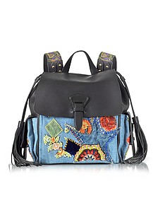 Black Soft Nappa Leather and Embroidered Denim Backpack - Roberto Cavalli
