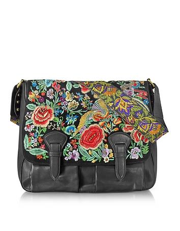 Floral Embroidered Black Leather Shoulder Bag