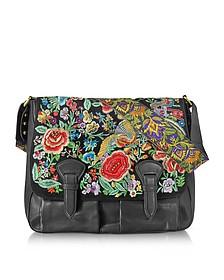 Floral Embroidered Black Leather Shoulder Bag - Roberto Cavalli