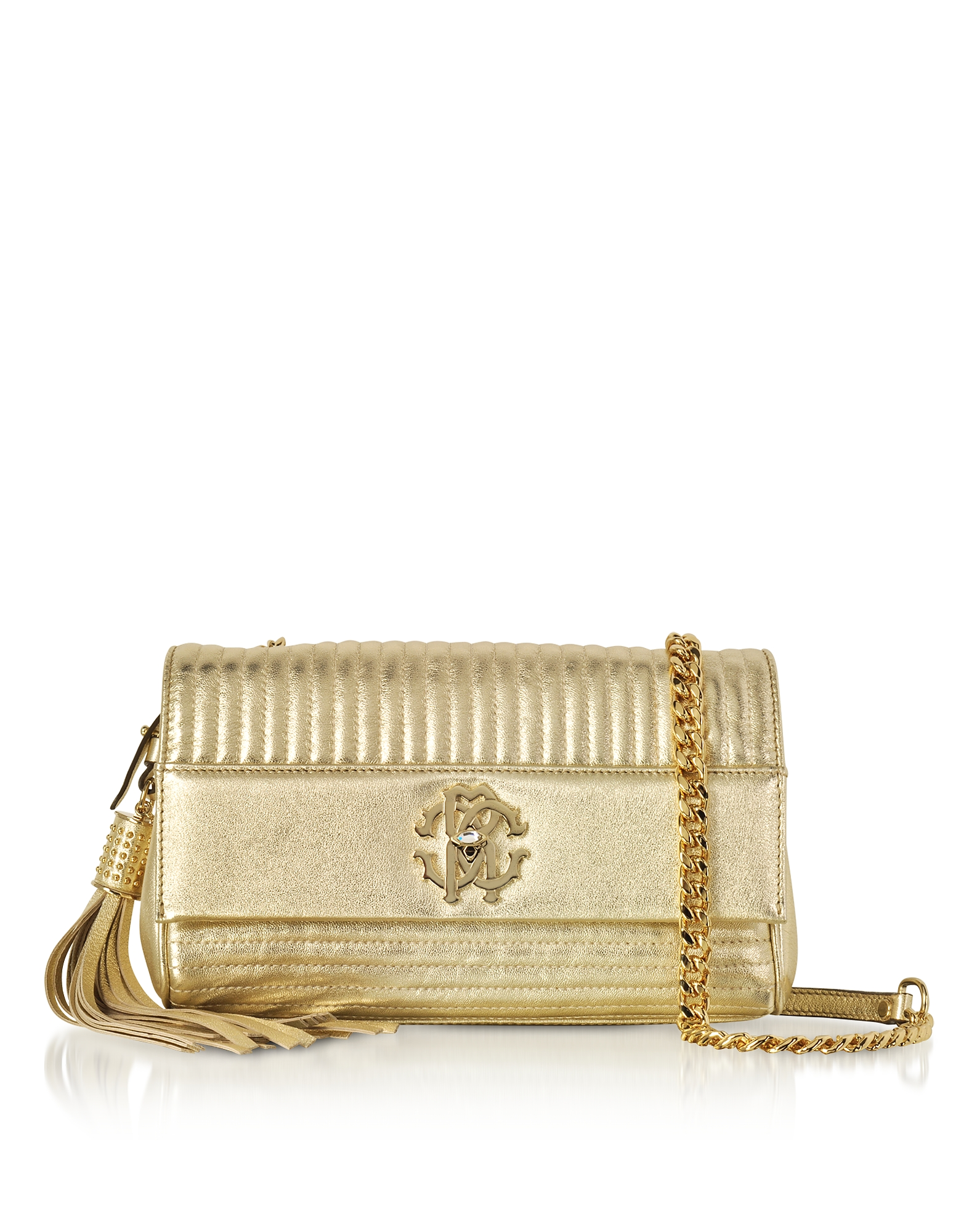 Roberto Cavalli Handbags, Platinum Gold Laminated Quilted Nappa Leather Small Shoulder Bag