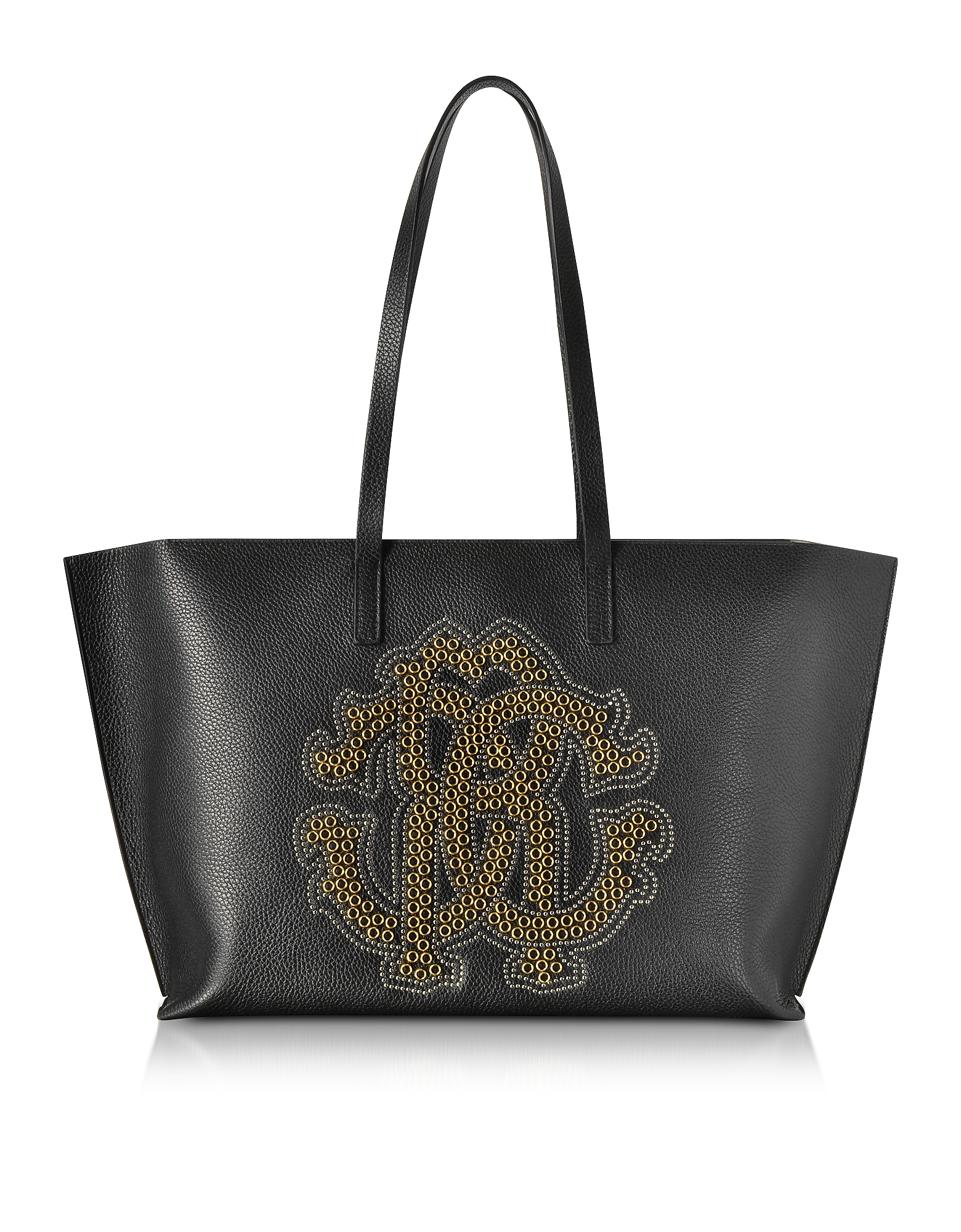 Roberto Cavalli Handbags, Black Leather Unisex Tote Bag w/Gold Studs RC Logo