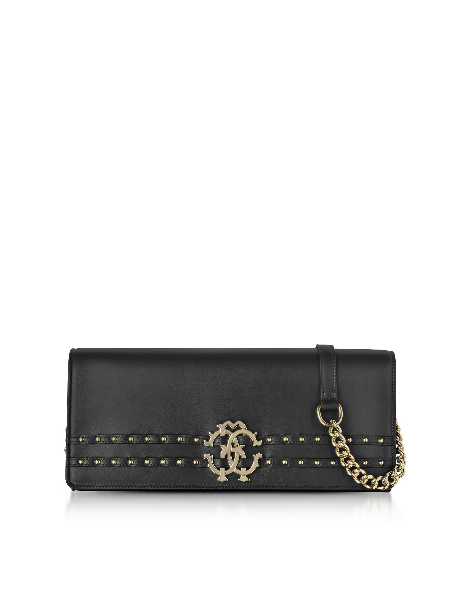 Roberto Cavalli Handbags, Black Leather Clutch w/Chain Shoulder Strap and Studs