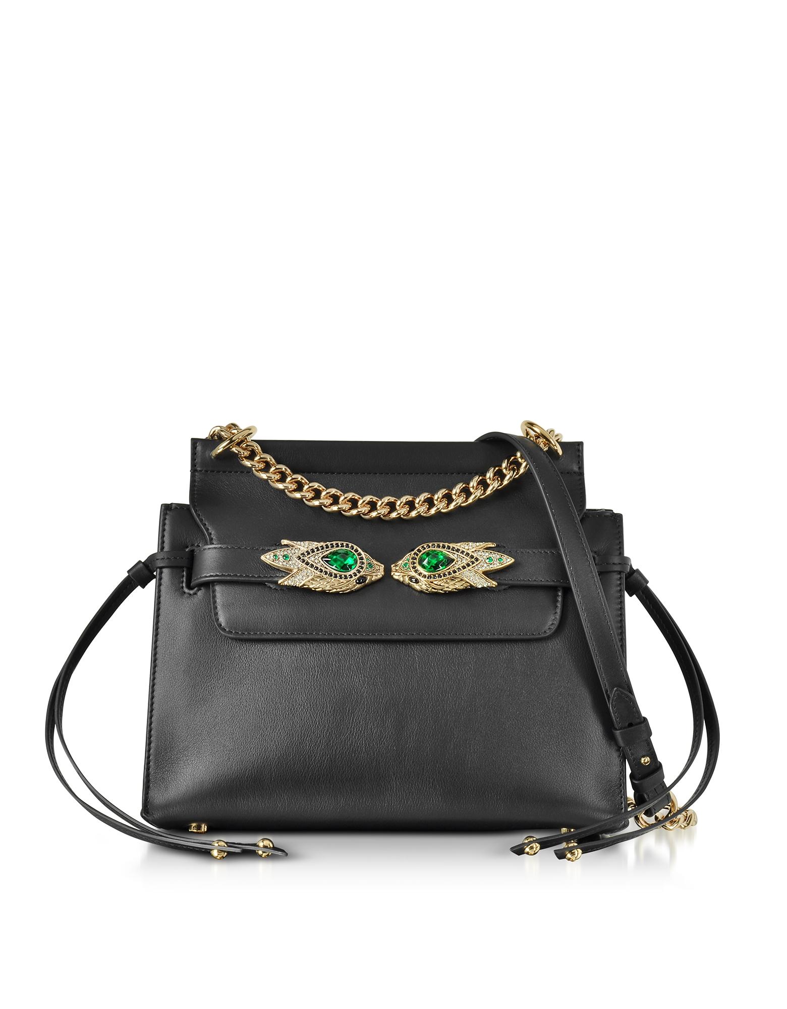 Roberto Cavalli Handbags, Black Leather Shoulder Bag w/Goldtone and Crystals Snake Heads