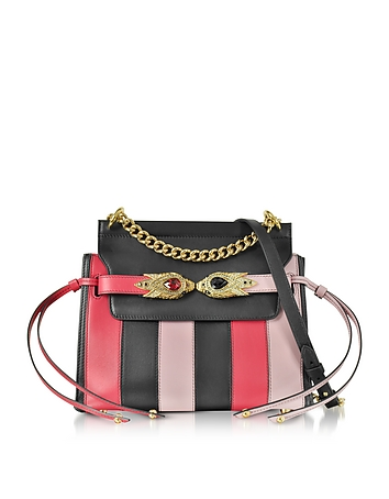 Tulip Black and Nude Stripe Leather Shoulder Bag w/Goldtone and Crystals Snake Heads rc130118-010-00