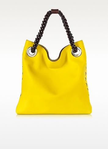Regina Sun Yellow Leather Handbag - Roberto Cavalli