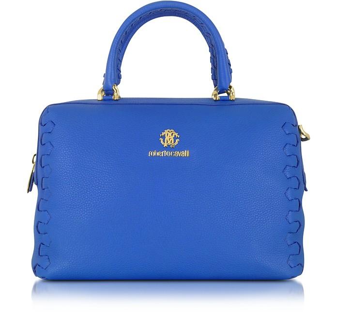 Regina Cerulean Grained Leather Bowling Bag - Roberto Cavalli