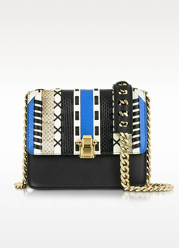 Hera Ayers and Smooth Leather Patchwork Small Flap Shoulder Bag - Roberto Cavalli