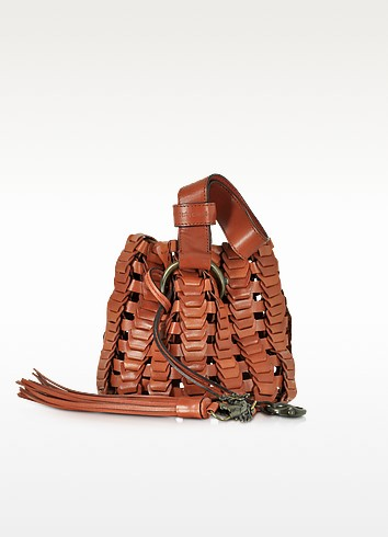 Mini Rust Woven Leather Bucket Bag - Roberto Cavalli