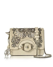 Skin Suede Crossbody Bag w/Embroidered Beads - Roberto Cavalli