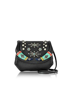 Black Leather Mini Crossbody Bag w/Studs - Roberto Cavalli