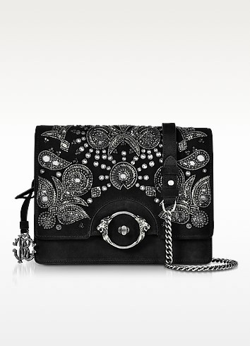 Black Suede Large Crossbody Bag w/Embroidered Beads - Roberto Cavalli