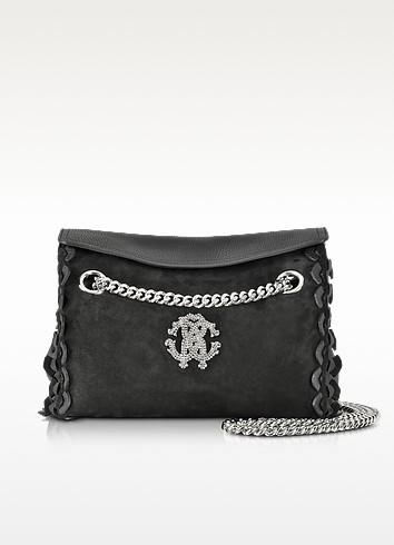 Regina Black Leather and Suede Medium Flap Shoulder Bag - Roberto Cavalli