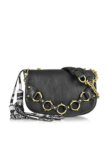 Fringe Small Black Leather Shoulder Bag