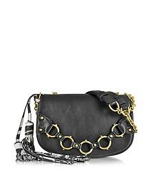 Fringe Small Black Leather Shoulder Bag - Roberto Cavalli
