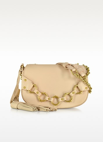 Fringe Small Blush Leather Shoulder Bag - Roberto Cavalli