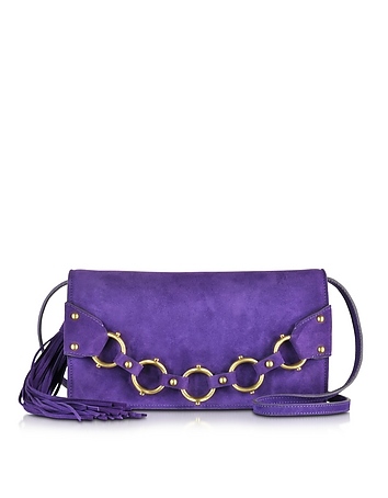 Fringe Purple Suede Clutch