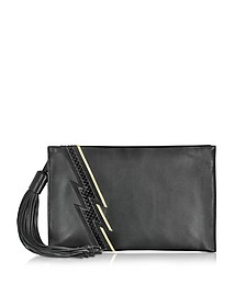 Evening Lightning Patchwork Black Leather Clutch  - Roberto Cavalli