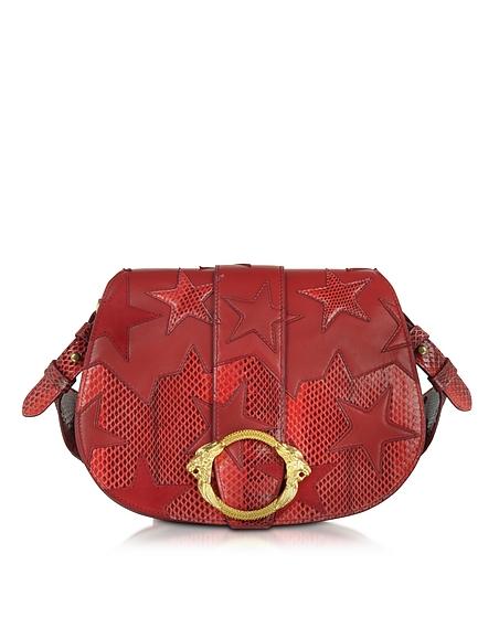 Foto Roberto Cavalli Flap Bag Medium in Pelle Ayers e Suede con Stelle e Tracolla Borse donna
