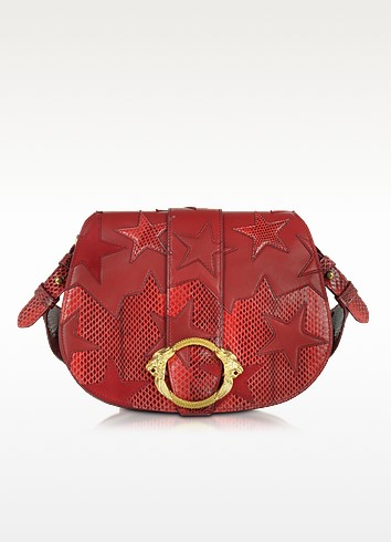 Stars Red Leather, Suede and Ayers Medium Crossbody - Roberto Cavalli