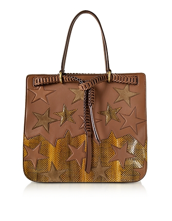 Stars Patchwork Caramel Leather Tote