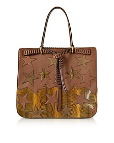 Stars Patchwork Caramel Leather Tote - Roberto Cavalli