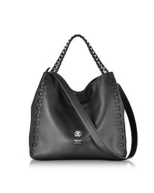 Medium Black Leather Tote Bag - Roberto Cavalli