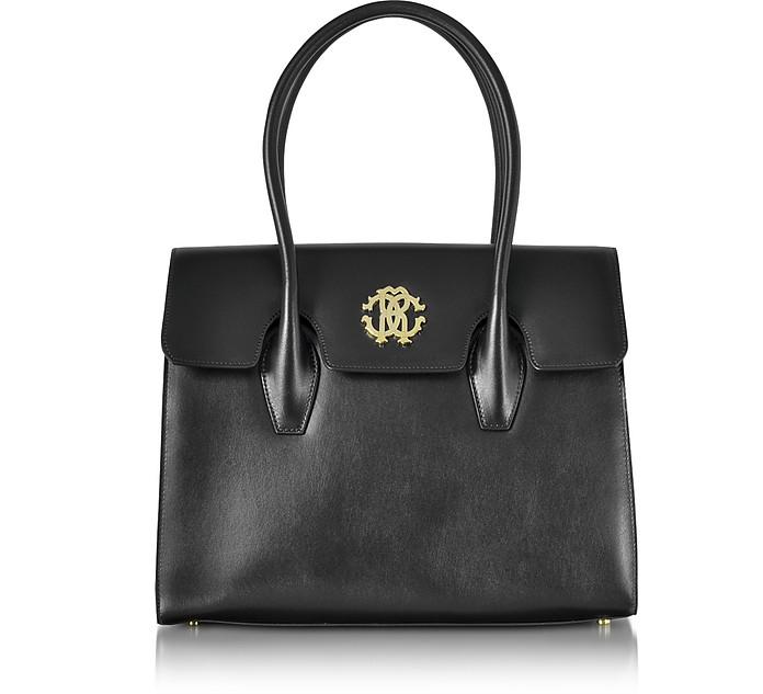 Black Leather Double Handle Tote Bag - Roberto Cavalli