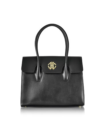 Black Leather Double Handle Tote Bag