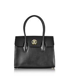 Black Leather Double Handle Tote Bag - Roberto Cavalli