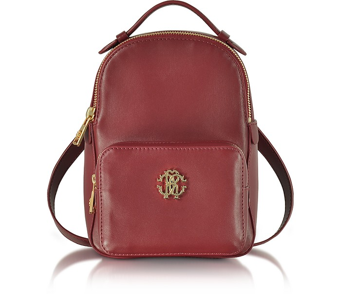 Small Leather Backpack w/Front Pocket - Roberto Cavalli