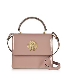 Cappuccino Patent Leather Small Satchel Bag - Roberto Cavalli