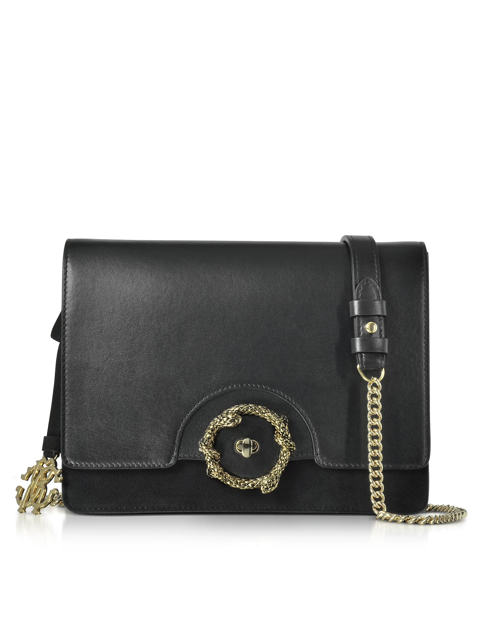 Roberto Cavalli Handbags, Genuine Leather and Suede Shoulder Bag