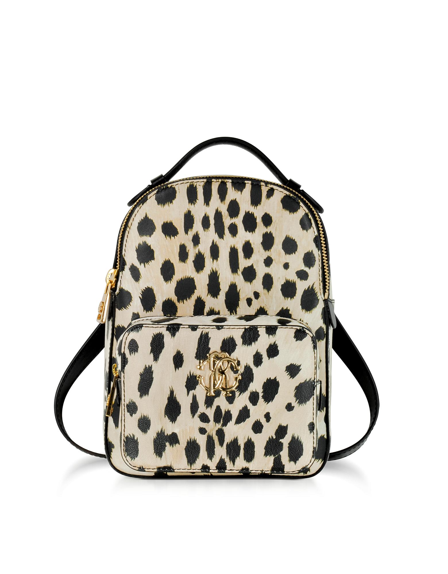 Roberto Cavalli Handbags, Animal Printed leather Small Backpack