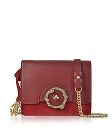 Crimson Leather and Suede Small Shoulder Bag - Roberto Cavalli