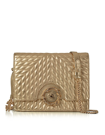 Roberto Cavalli - Small Gold Nappa Star Quilted Leather Shoulder Bag