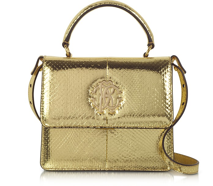 Golden Laminated Ayers Top Handle Satchel - Roberto Cavalli