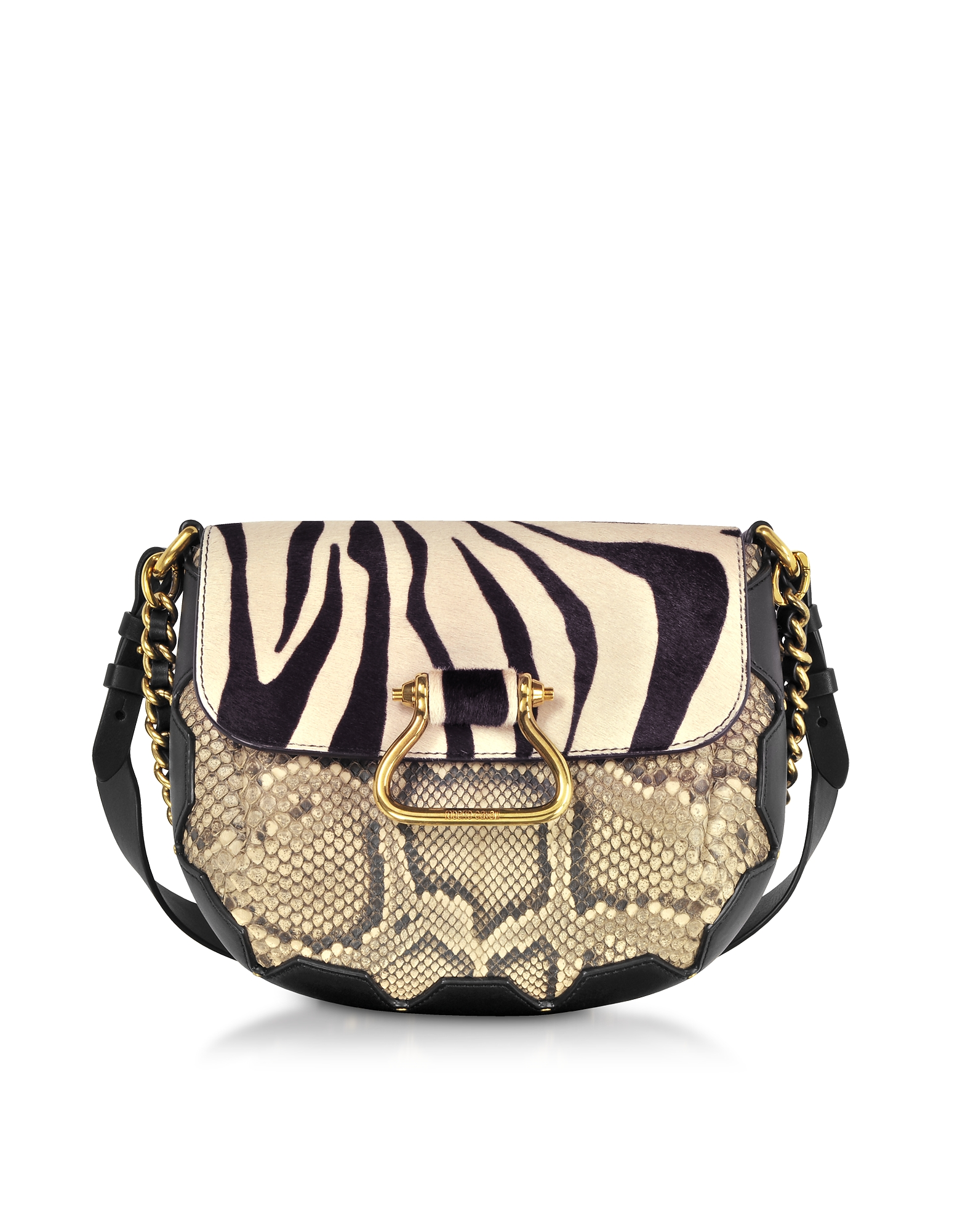 Roberto Cavalli Handbags, Black/Alabaster Zebra Pony Hair and Gold Python Medium Shoulder Bag
