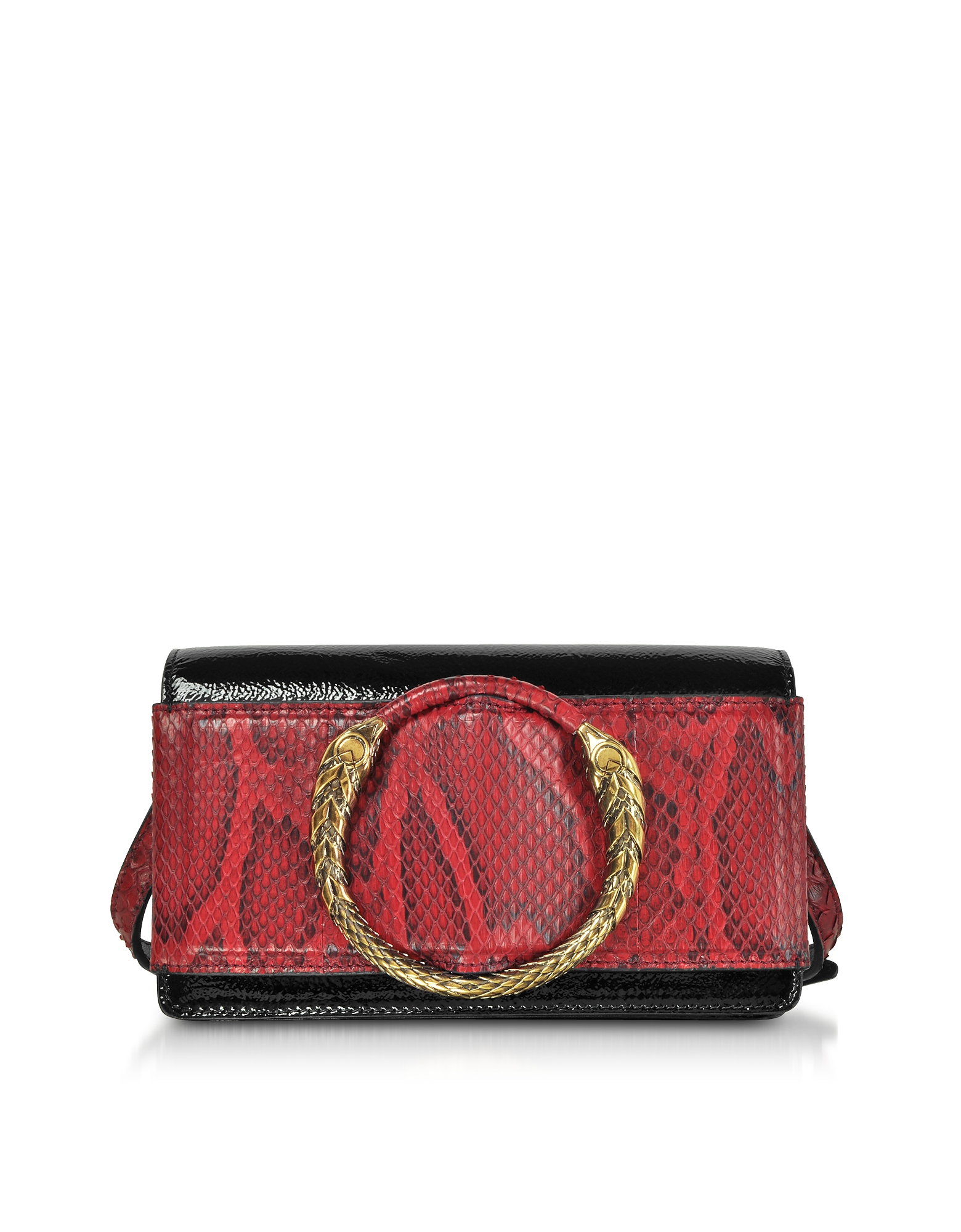 Roberto Cavalli Handbags, Black Patent Leather and Cherry Python Small Shoulder Bag