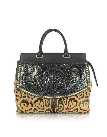 Roberto Cavalli - Aphrodite Jaguar Printed Haircalf and Black Leather Tote