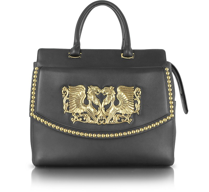 Aphrodite Jewel Goldtone with Studs and Black Leather Tote - Roberto Cavalli