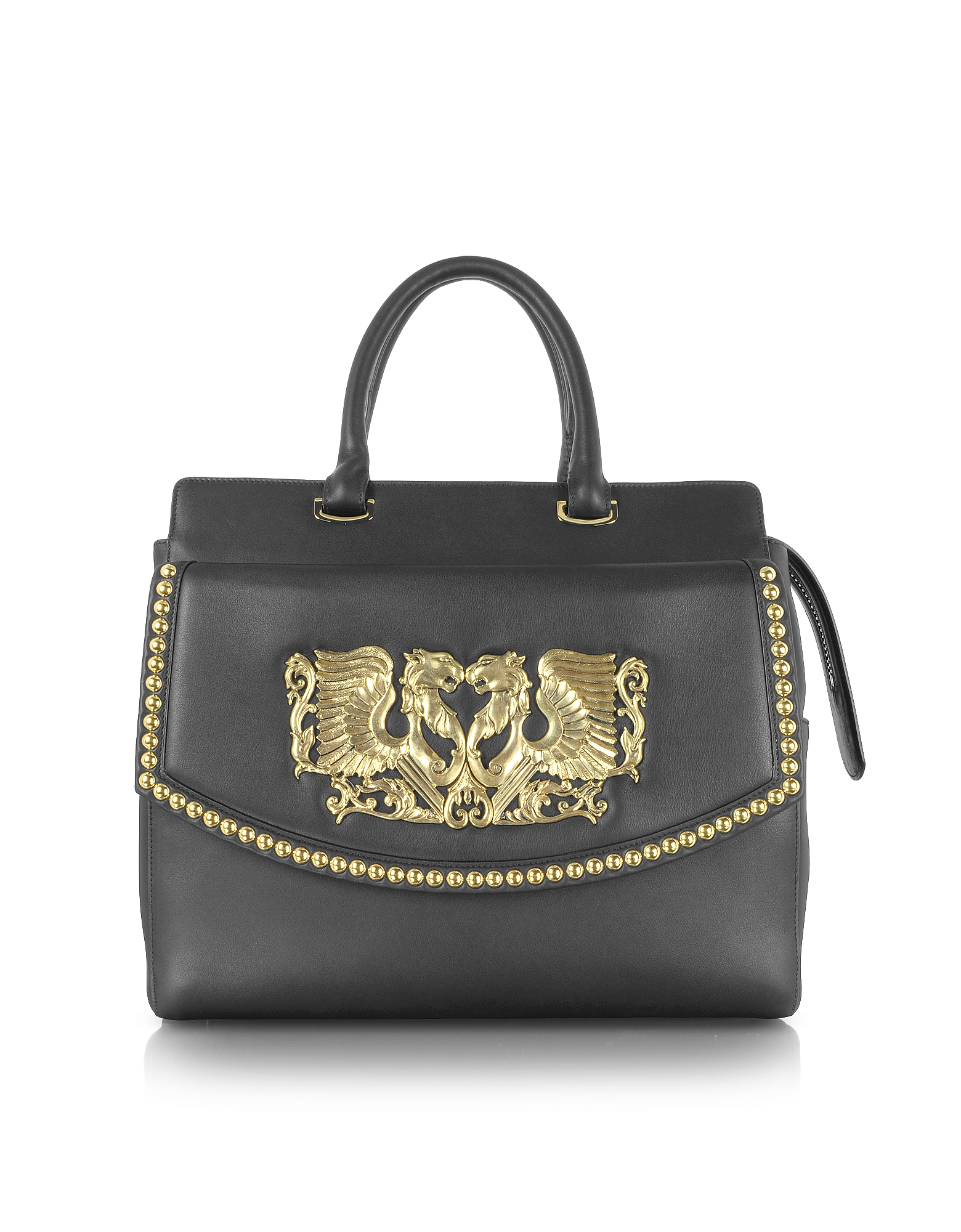 Roberto Cavalli Handbags, Aphrodite Jewel Goldtone with Studs and Black Leather Tote