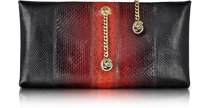 Orb Black and Dark Red Ayers Snake Large Clutch w/Chameleon Chain - Roberto Cavalli