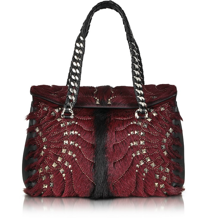 Regina Dark Red Fur and Golden Studs Small Satchel  - Roberto Cavalli