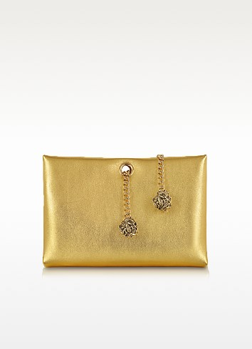 Orb Gold Metallic Leather Clutch w/Frog Chain - Roberto Cavalli